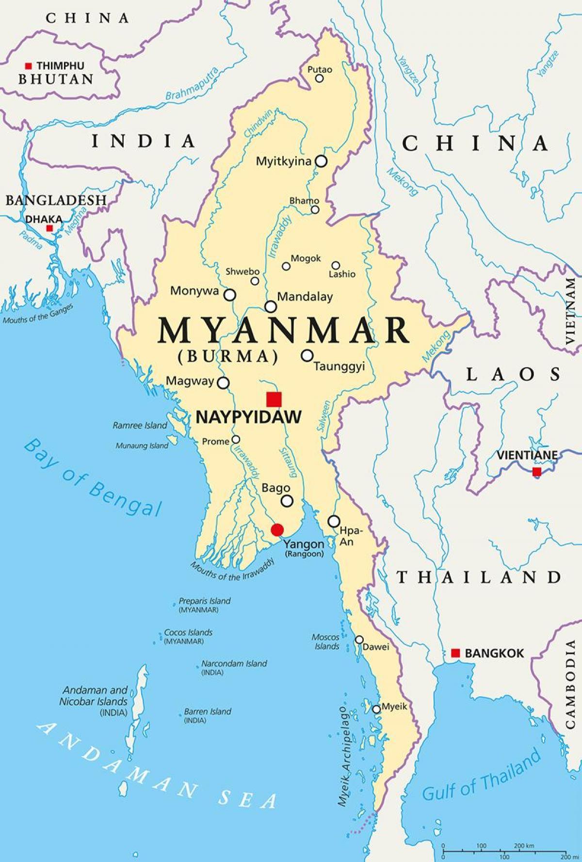 Burma Land Karte Myanmar Land Karte Sud Ost Asien Asien