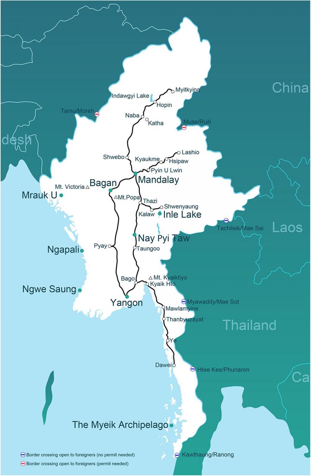 Myanmar Karte Einer Landkarte Myanmar Sud Ost Asien Asien